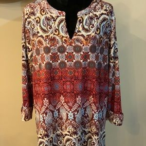 Dress barn Multi-colored long sleeved blouse